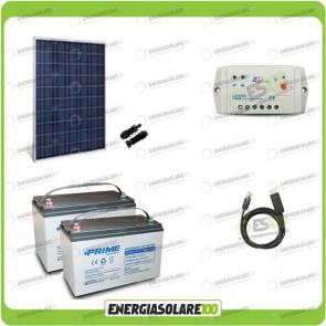 Kit Starter Plus Pannello Solare HF 250W 24V Batteria AGM 100Ah Regolatore PWM 10A LS1024B e Cavo USB RS485