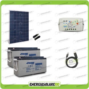 Kit Starter Plus Pannello Solare HF 250W 24V Batteria AGM 150Ah Regolatore PWM 10A LS1024B e Cavo USB RS485