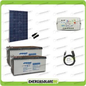Kit Starter Plus Pannello Solare HF 250W 24V Batteria AGM 200Ah Regolatore PWM 10A LS1024B e Cavo USB RS485