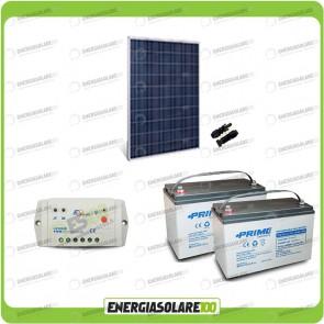 Kit Starter Plus Pannello Solare HF 250W 24V Batteria AGM 100Ah Regolatore PWM 10A LS1024B