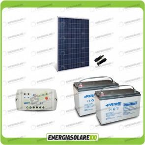 Kit Starter Plus Pannello Solare policristallino 270W 24V Batteria AGM 100Ah  Regolatore PWM 10A LS1024B
