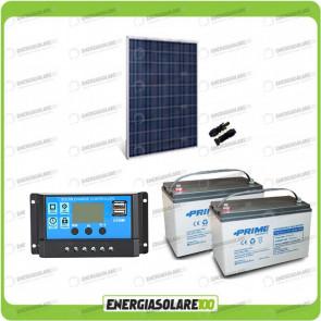 Kit Starter Plus Pannello Solare HF 270W 24V Batteria AGM 100Ah Regolatore PWM 10A NV10