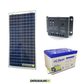 Kit Starter Plus NX 30W 12V Regolatore PWM 5A Epsolar Batteria AGM 12Ah Deep Cycle