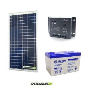 Kit Starter Plus NX 30W 12V Regolatore PWM 5A Epsolar Batteria AGM 12Ah