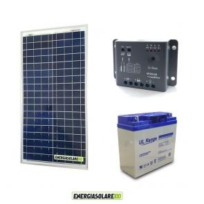 Kit Starter Plus NX 30W 12V Regolatore PWM 5A Epsolar Batteria AGM 18Ah