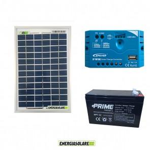 Kit Starter Solare Plus 5W 12V Policristallino 7Ah Regolatore PWM 5A