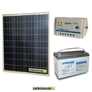 Kit Starter Plus Pannello Solare 80W 12V Batteria AGM 100Ah Regolatore PWM 10A LS1024B