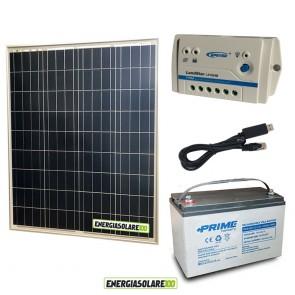 Kit Starter Plus Pannello Solare 80W 12V Batteria AGM 1000Ah Regolatore PWM 10A LS1024B e Cavo USB RS485
