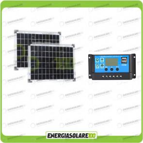 Kit Solare Fotovoltaico 20W 24V di Protezione Batterie Inverno Baita Rifugio di Montagna