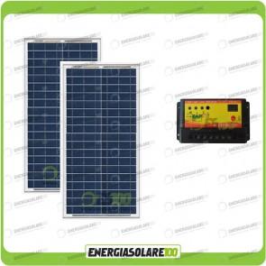 Kit Solare Fotovoltaico 60W 24V di Protezione Batterie Inverno Baita Rifugio di Montagna