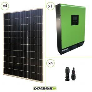 Impianto solare fotovoltaico 1.2KW 24V pannello europeo monocristallino Inverter Genius30 3000VA 3000W PWM 50A