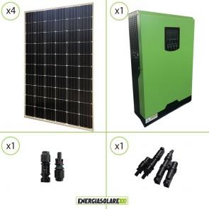 Impianto solare fotovoltaico 1.2KW 48V pannello europeo monocristallino inverter ibrido onda pura 5KW PWM 50A