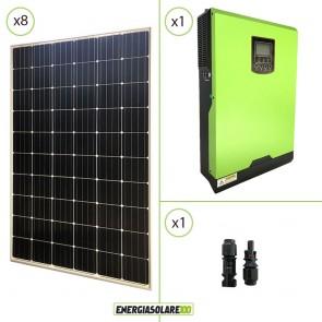 Impianto solare fotovoltaico 2.4KW 24V pannello europeo monocristallino Inverter ibrido Edison 24V 3KW MPPT 80A