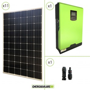 Impianto solare fotovoltaico 3.3KW 24V pannello europeo monocristallino Inverter ibrido Edison 24V 3KW MPPT 80A