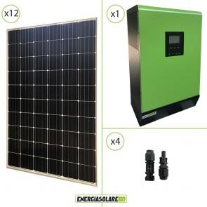 Impianto solare fotovoltaico 3.6KW 48V pannello europeo monocristallino Inverter ibrido Genius60 48V 5KW 2 MPPT 60A