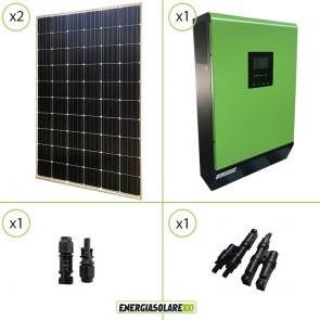 Impianto solare fotovoltaico 600W 24V pannello europeo monocristallino Inverter Genius30 3000VA 3000W PWM 50A