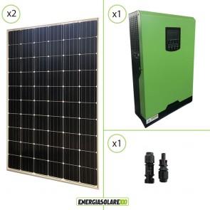 Impianto solare fotovoltaico 600W 48V pannello europeo monocristallino inverter ibrido onda pura 5KW PWM 50A