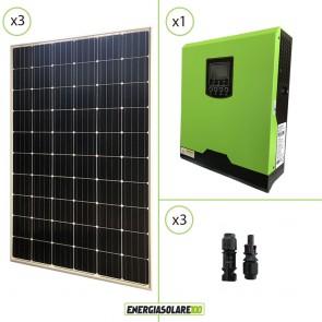 Impianto solare fotovoltaico 900W 24V pannello europeo monocristallino inverter ibrido onda pura 3KW PWM 50A