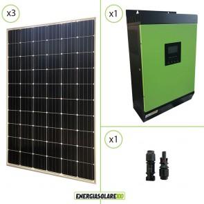 Impianto solare fotovoltaico 900W 24V pannello europeo monocristallino Inverter ibrido Genius30 24V 3KW MPPT 60A