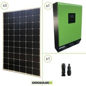 Impianto solare fotovoltaico 900W 48V pannello europeo monocristallino Inverter ibrido Genius50 48V 5KW MPPT 80A