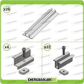 Kit Struttura 12 Pannelli Solari Modulo Verticale 40mm Tetto Grecato