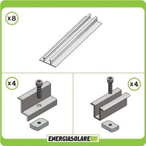 Kit Struttura per montare 3 Pannelli Solari in posizione Verticale spessore 35mm su tetto in Lamiera Grecata o Guaina Ardesiana