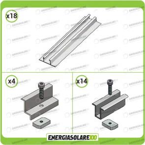 Kit Struttura 8 Pannelli Solari Modulo Verticale 40mm Tetto Grecato