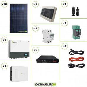 Impianto solare fotovoltaico di connessione a rete con scambio sul posto 1.1KW inverter monofase Growatt 1KW