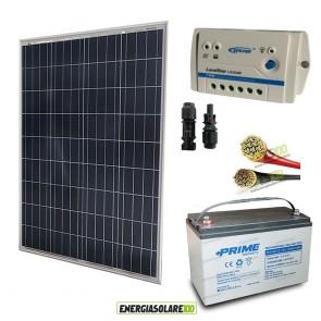 Kit Starter Pro 100W 12V Regolatore PWM 10A LS Epsolar Batteria 100Ah e Cavi 4mmq Solare