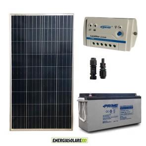 Kit Starter Plus Pannello Solare 150W 12V Batteria AGM 150Ah Regolatore PWM 10A LS1024B