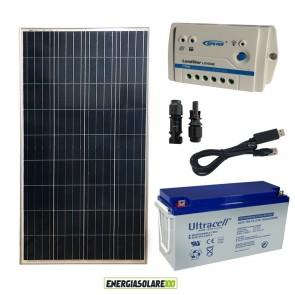 Kit Starter Plus Pannello Solare 150W 12V Batteria Gel 150Ah Regolatore PWM 10A LS1024B e Cavo USB RS485