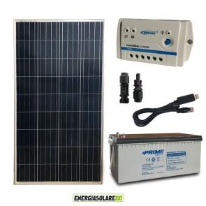Kit Starter Plus Pannello Solare 150W 12V Batteria AGM 200Ah Regolatore PWM 10A LS1024B e Cavo USB RS485