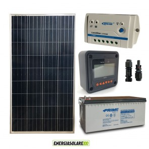 Kit Starter Plus Pannello Solare 150W 12V Batteria AGM 200Ah Regolatore PWM 10A LS1024B e Display MT-50
