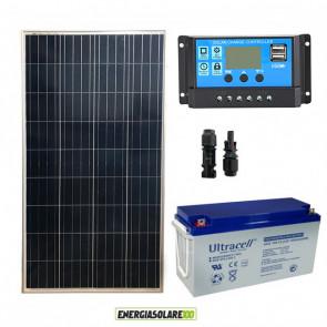 Kit Starter Plus Pannello Solare 150W 12V Batteria Gel 150Ah Regolatore PWM 10A NV10
