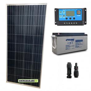 Kit Starter Plus Pannello Solare 150W 12V Batteria AGM 150Ah Regolatore PWM 10A NV10