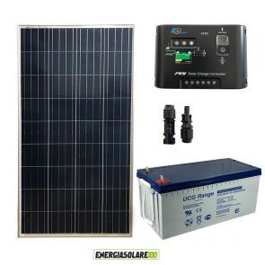 Kit Starter Plus Pannello Solare 150W 12V Batteria GEL 200Ah Regolatore di Carica 10A Epsolar