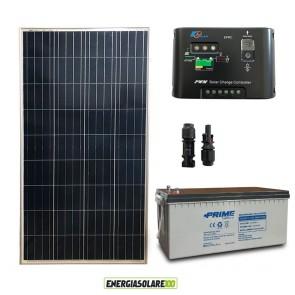 Kit Starter Plus Pannello Solare 150W 12V Batteria AGM 200Ah Regolatore di Carica 10A Epsolar