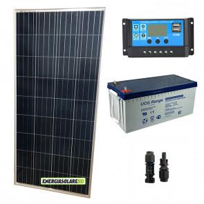 Kit Starter Plus Pannello Solare 150W 12V Batteria Gel 200Ah Regolatore PWM 10A NV10