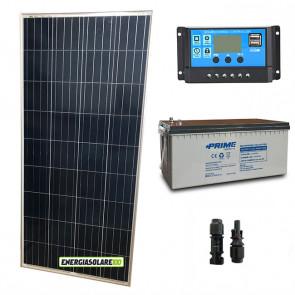 Kit Starter Plus Pannello Solare 150W 12V Batteria AGM 200Ah Regolatore PWM 10A NV10