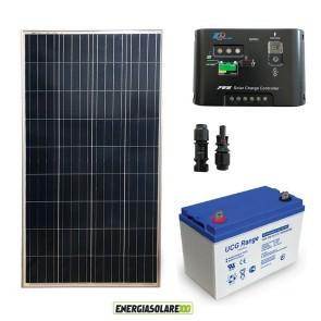 Kit Starter Plus Pannello Solare 150W 12V Batteria GEL 100Ah Regolatore di Carica 10A Epsolar
