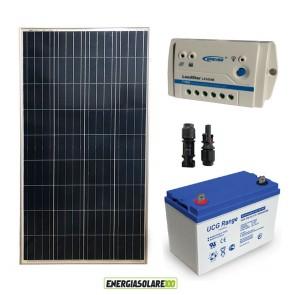 Kit Starter Plus Pannello Solare 150W 12V Batteria Gel 100Ah Regolatore PWM 10A LS1024B