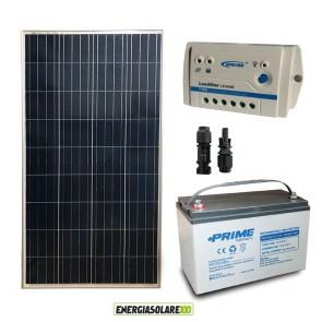Kit Starter Plus Pannello Solare 150W 12V Batteria AGM 100Ah Regolatore PWM 10A LS1024B