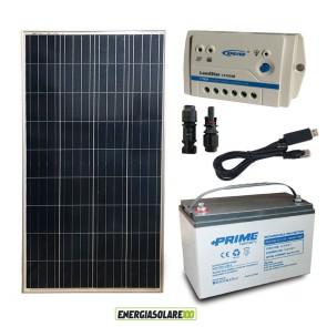 Kit Starter Plus Pannello Solare 150W 12V Batteria AGM 100Ah Regolatore PWM 10A LS1024B e Cavo USB RS485