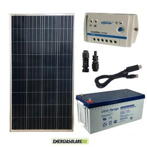 Kit Starter Plus Pannello Solare 150W 12V Batteria Gel 200Ah Regolatore PWM 10A LS1024B e Cavo USB RS485