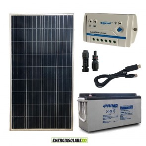 Kit Starter Plus Pannello Solare 150W 12V Batteria AGM 150Ah Regolatore PWM 10A LS1024B e Cavo USB RS485