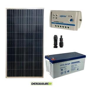Kit Starter Plus Pannello Solare 150W 12V Batteria Gel 200Ah Regolatore PWM 10A LS1024B