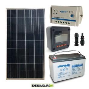 Kit Starter Plus Pannello Solare 150W 12V Batteria AGM 100Ah Regolatore PWM 10A LS1024B e Display MT-50