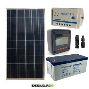 Kit Starter Plus Pannello Solare 150W 12V Batteria Gel 200Ah Regolatore PWM 10A LS1024B e Display MT-50