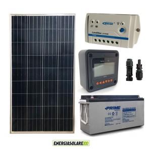 Kit Starter Plus Pannello Solare 150W 12V Batteria AGM 150Ah Regolatore PWM 10A LS1024B e Display MT-50