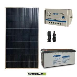 Kit Starter Plus Pannello Solare 150W 12V Batteria AGM 200Ah Regolatore PWM 10A LS1024B